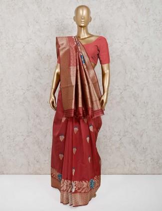 Onion pink wedding saree in handloom cotton silk