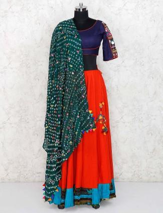 Red and blue cotton festive lehenga choli