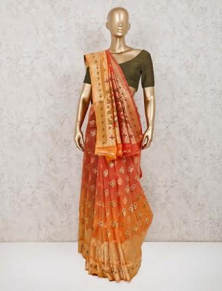 Orange and peach handloom cotton silk saree
