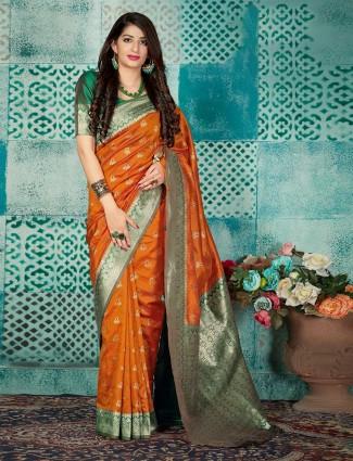 Orange banarasi silk wedding wear saree
