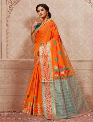 Orange color festive wear lovely saree