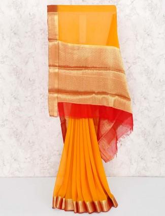 Orange color festive wear pretty saree