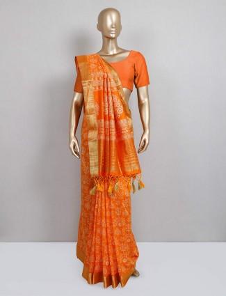 Orange color saree design in cotton silk