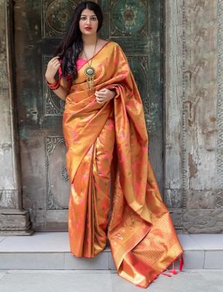 Orange colored kanjivaram silk saree