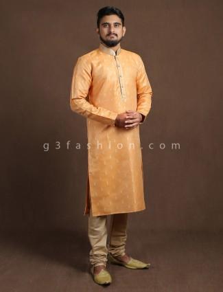 Orange cotton half buttoned placket kurta suit