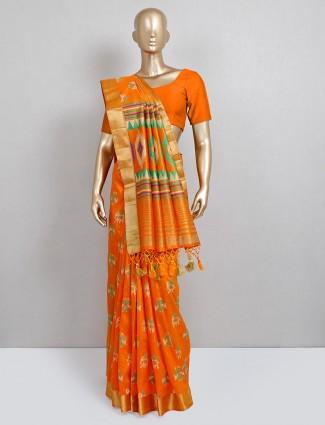 Orange cotton silk sari for festive wear