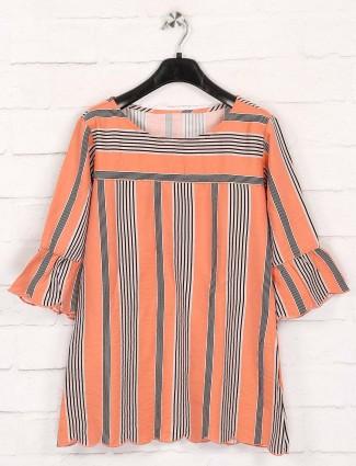 Orange cotton stripe top