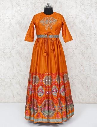 Orange designer cotton silk anarkali suit