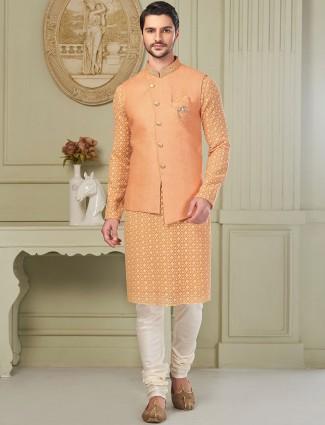Orange designer party wear jute fabric waistcoat set