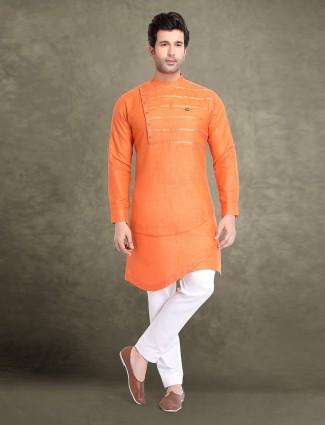Orange festive cotton kurta suit
