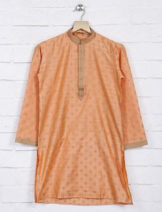 Orange festive occasion cotton kurta suit
