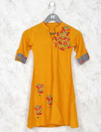 Orange hue cotton punjabi palazzo suit