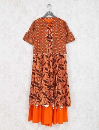 Orange hue designer kurti