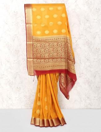 Orange hue georgette fabric wedding saree