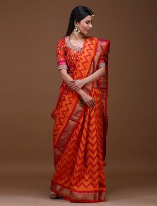 Orange hue lovely saree in pure silk saree