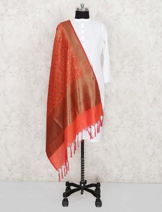 Orange hue pretty silk dupatta