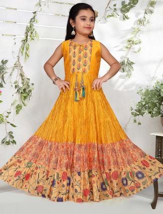Orange hue printed cotton silk floor length anarkali salwar suit