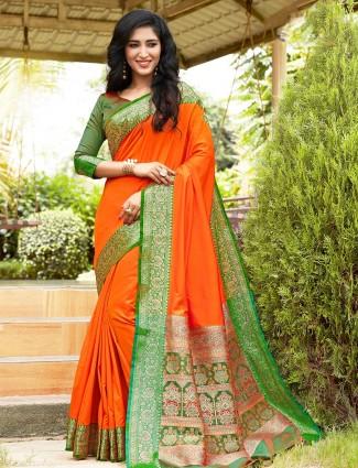 Orange kasturi silk wedding saree