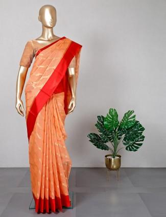 Orange latest cotton silk saree for festive seasons