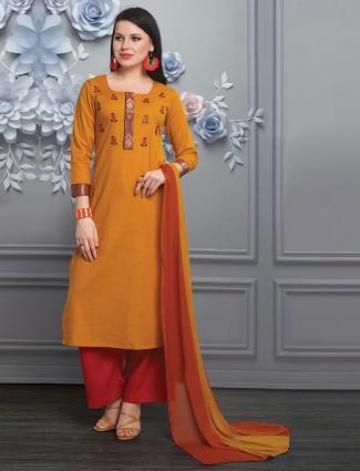 Orange palazzo salwar suit in cotton silk