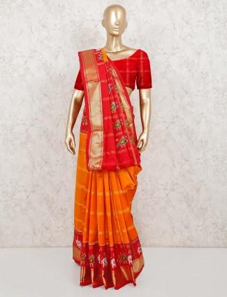 Orange patola silk beautiful saree