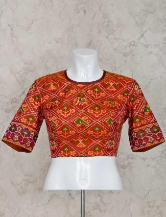 橙色patola真丝现成的衬衫