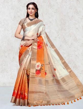 Orange printed mulberry silk festival saree