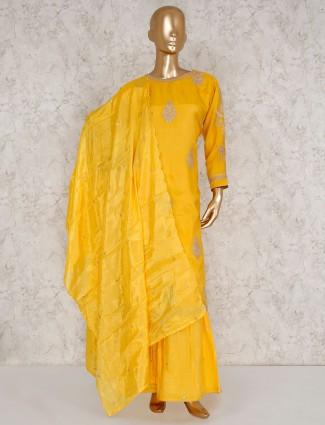 Yellow pakistani punjabi sharara suit in cotton silk