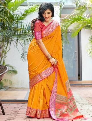 Orange sari for wedding in banarasi silk