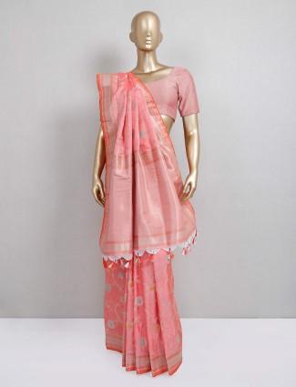 Orange semi silk festive wear saree