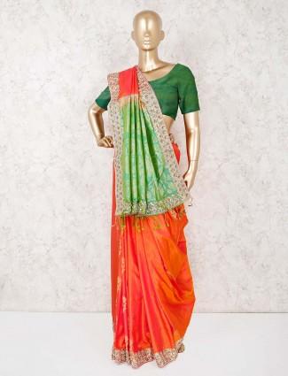 Orange silk reception wear saree
