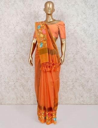 Orange stripe cotton saree