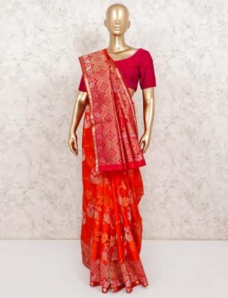Orange wedding wear banarasi pure silk saree