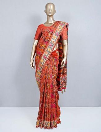 Orange wedding wear muga silk saree