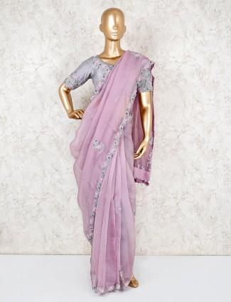 Organza readymade blouse saree for wedding reception