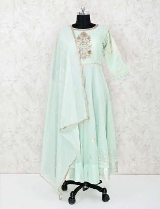 Palazzo suit in sea green cotton silk
