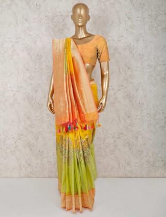Parrot green and yellow banarasi silk saree