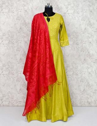 Parrot green floor length anarkali salwar suit in cotton silk