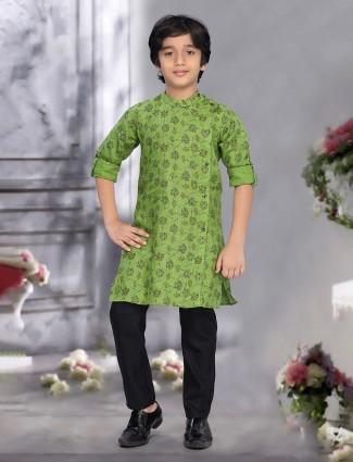 Parrot green printed pattern cotton kurta suit