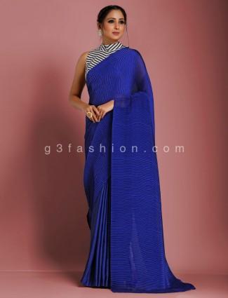 Party royal blue designer crush satin saree with stripe readymade blouse