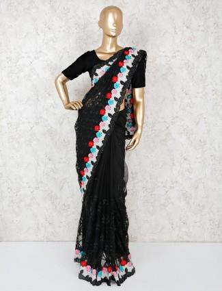Party function black net saree