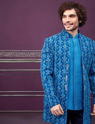 派对功能蓝夹克风格男装印度西部