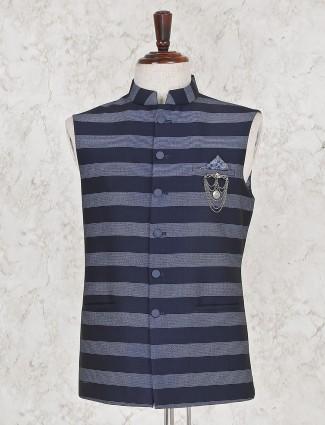 Party function stripe navy hue waistcoat