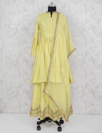Party function yellow cotton silk punjabi lehenga suit