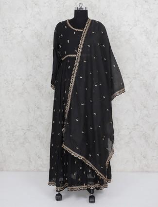 Party occasion black hue cotton silk salwar suit