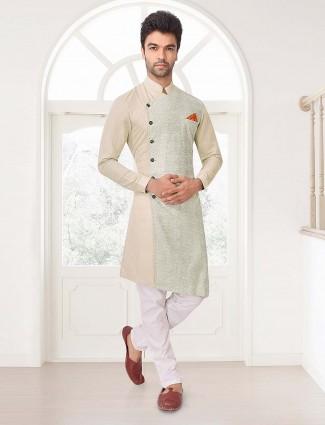 Party wear beige cotton fabric mens kurta suit