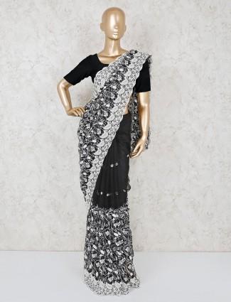 Party wear black net saree