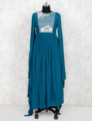 Party wear blue color designer anarkali suit