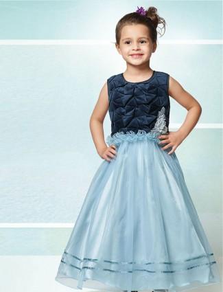 Party wear blue net gown