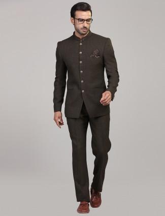 Party wear brown colored jodhpuri suit